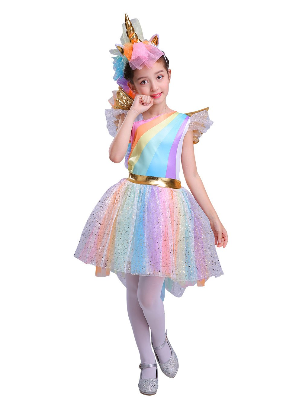Seasons Direct Halloween Girl's Rainbow Unicorn Costume with Wing and Headband 6