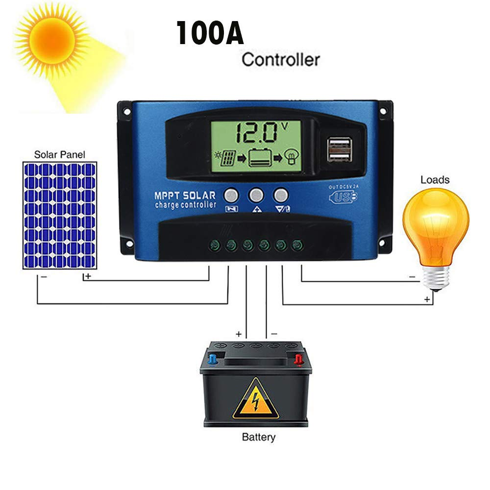 PWM Solar Charge Controller 100A, Besde LCD Display Solar Panel Battery Regulator 12V/24V PWM Auto Paremeter Adjustable, Used for Open, AGM, Gel Lead-Acid Batteries + Anderson Plugs (100A, Blue)