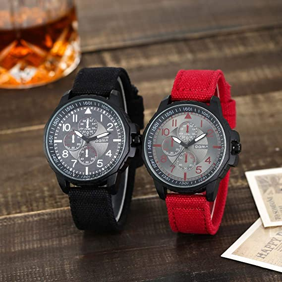 Amazon.com: Watches for Men, DYTA Business Watches with Black Stainless Steel Case Nylon Strap Under 55 Casual Analog Quartz Watch Wrist Watchs on Relojes ...