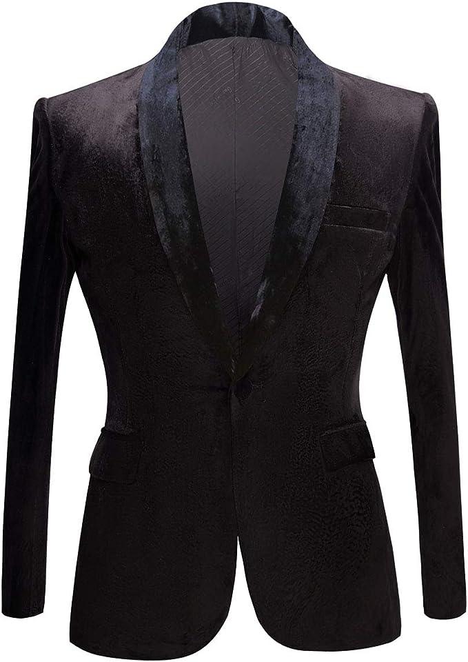 PYJTRL Mens Fashion Velvet Blazers