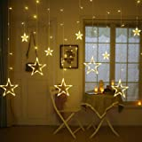 Homeeasy Plastic 138 LED 12 Stars Curtain String Lights with 8 Flashing Modes Diwali Decoration (Warm White)