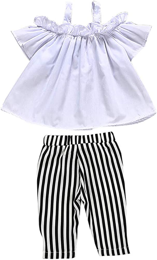 Gyratedream Girls Summer Fashion Clothing Set 1-6 Years Kids Short Sleeve Bare Shoulders Tops Harem Stripe Bowknot Pants Trousers 2Pcs Casual Loose Outfits