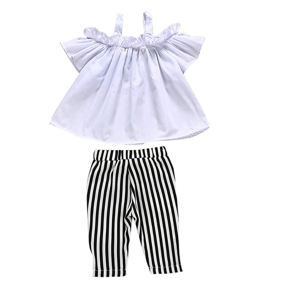 Stripe Pants 2 Pieces Holiday Beach Outfits zhangwei Kids Girl Clothes Summer Spring Strap Blouse Shirt