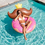 Original Giant Donut Mustache Pool Floats For Adults and Kids - Swimming Inflatable Float as Adult Swim Toys