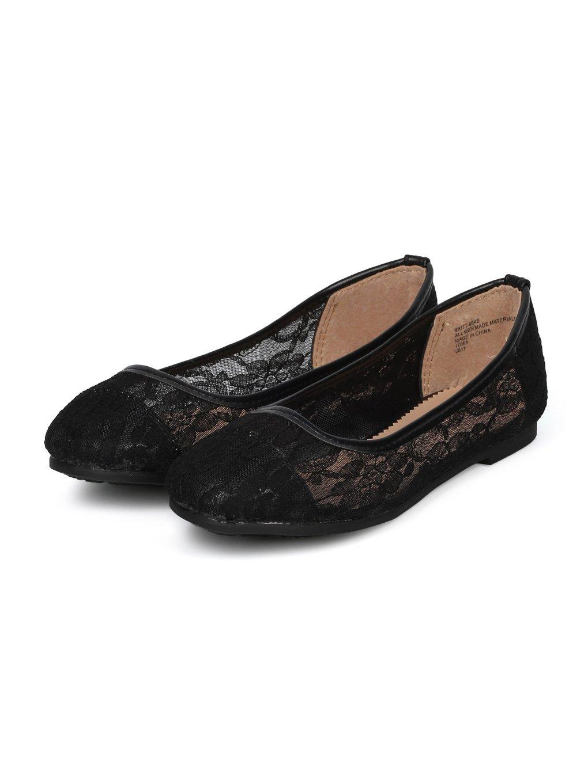 Alrisco Girls Faux Suede Bow Embellishment Ballerina Flat HA86