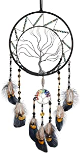 VENROII 7 Chakras Tree of Life Dream Catcher Wall Decor, Native American Dreamcatcher for Bedroom Living Room Home Decor Metal Wall Hanging Art Ornaments Wedding Party Blessing Gift (Multicolor)
