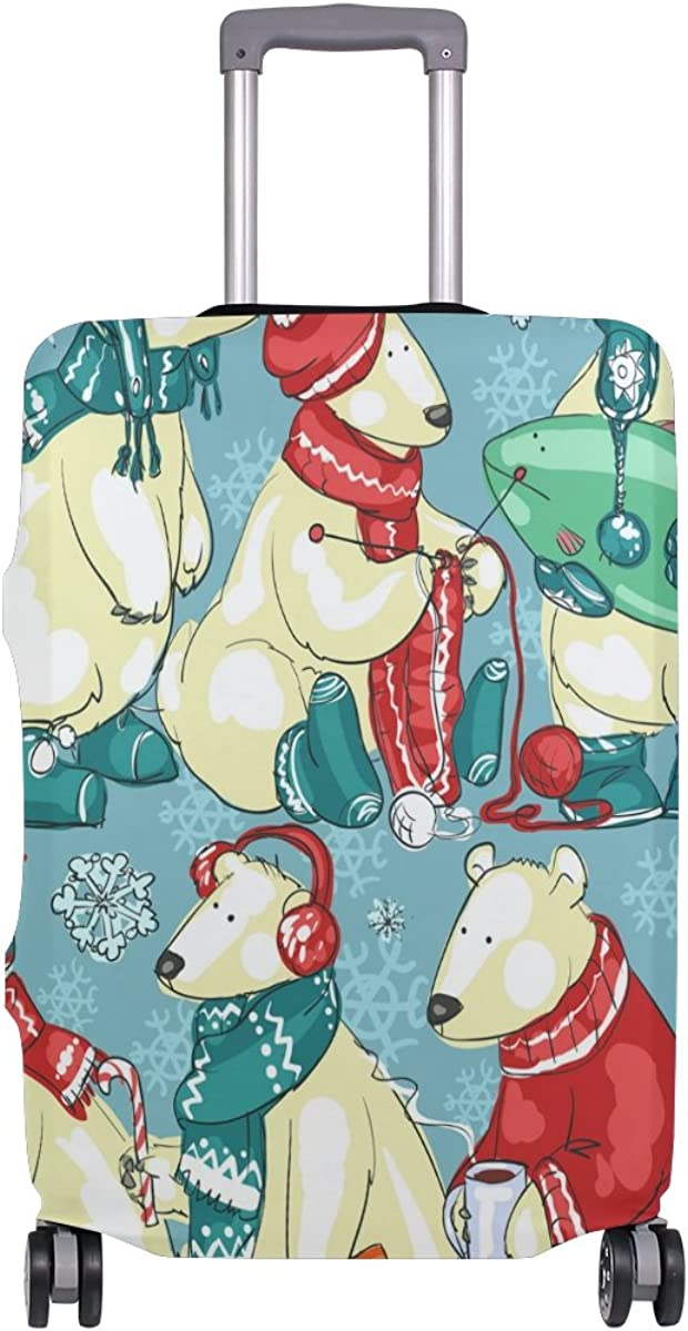 GIOVANIOR Christmas Polar Bears Luggage Cover Suitcase Protector Carry On Covers