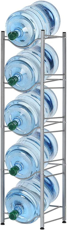 Water Cooler Jug Rack 5-Tier Water Bottle Storage Rack 5 Gallon Detachable Heavy Duty Water Jug Shelf Save Space for Home Office Kitchen Organization Silver
