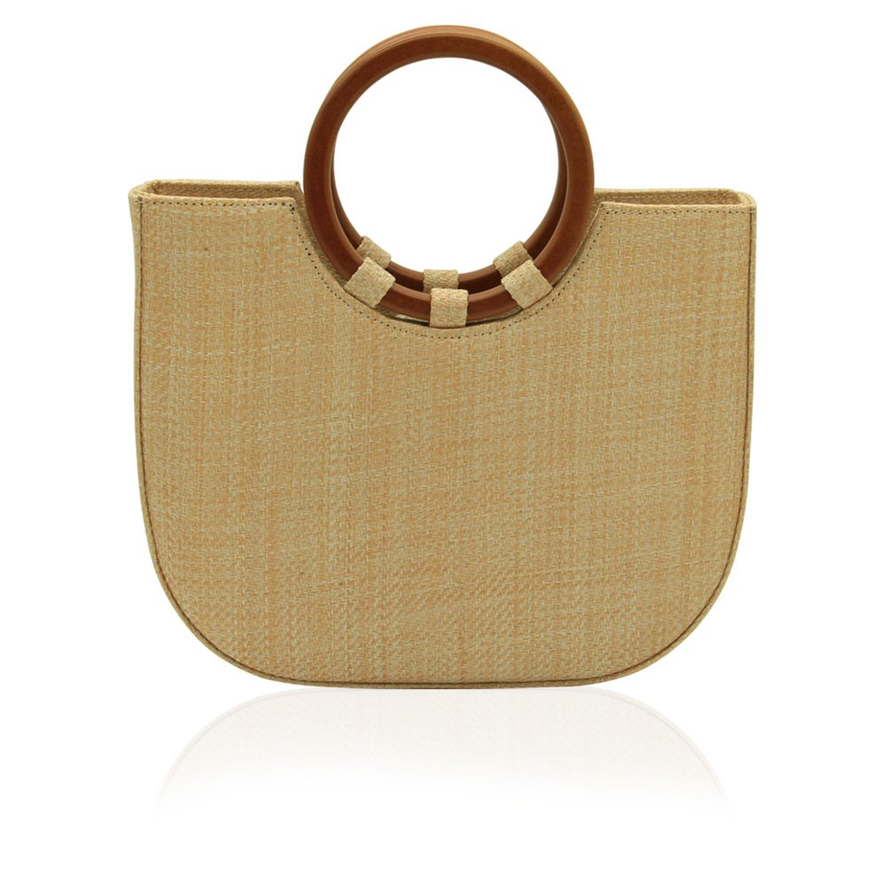 Women's Straw Top Handle Tote Shoulder Handbag with Leather Strap for Summer (Big) by GraceFINE