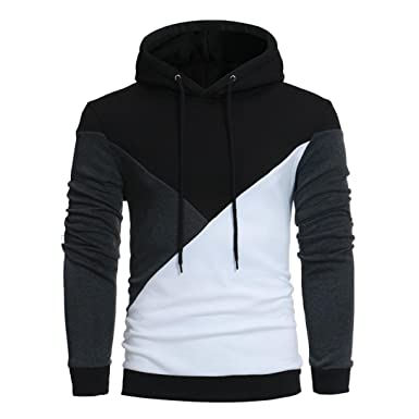 3ebf977dc64 BHYDRY Men s Long Sleeve Patchwork Hoodie Hooded Sweatshirt Tops Cotton  Jacket Autumn Coat Winter Outwear(