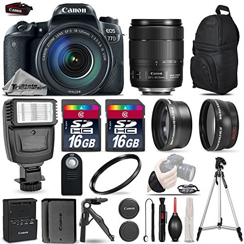 Canon EOS 77D DSLR Camera + Canon 18-135mm IS USM ...