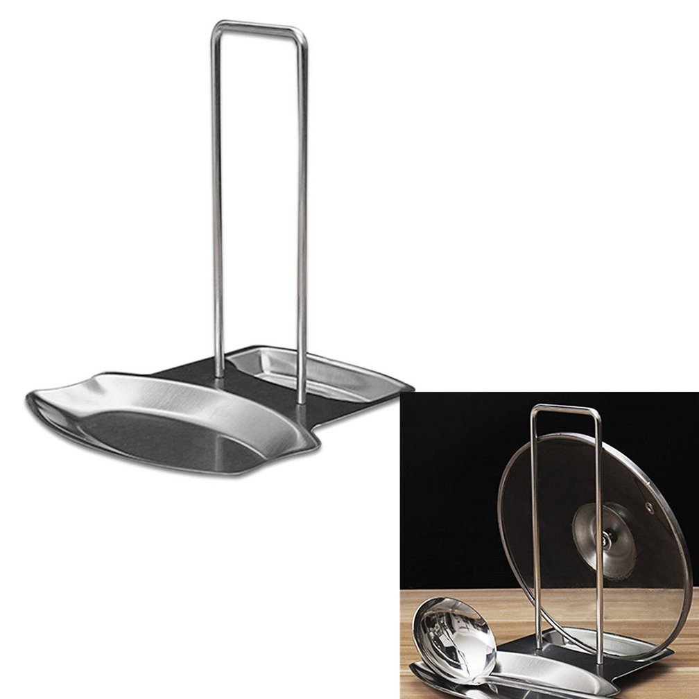 BB Stainless Steel Pan Pot Cover Lid Rack Stand Spoon Holder Organizer Storage Stainless Steel Pan Pot Cover Lid Rack Stand Spoon Rest Stove Organizer Storage Soup Spoon Holder for Home Kitchen