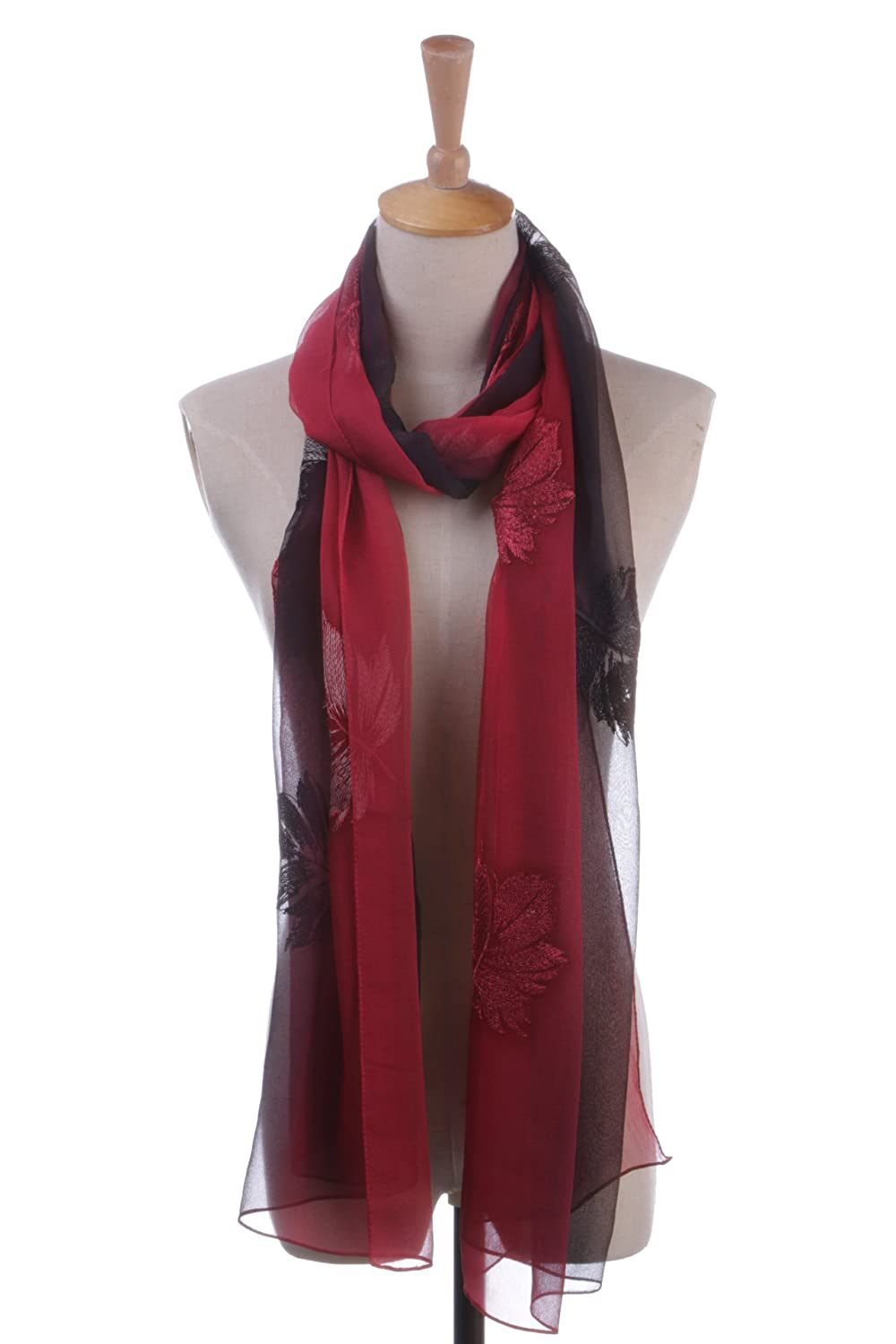 100% Pure Silk Women's Leaves Pattern Embroidered Long Scarf
