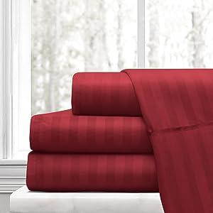 Ras Décor Linen 600-Thread-Count 100% Cotton Bed Sheets Burgundy Stripe Full Sheet Set, 4-Piece Long-Staple Combed Cotton, Breathable, Soft & Sateen Weave Fits Mattress Upto 15'' Deep Pocket