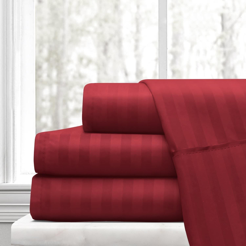 ARlinen 1 Bed Sheet Set 100% Egyptian Cotton 4-Piece Bed Sheet Set Sateen 600-Thread-Count Fit Mattress up to 15 Inch Deep Pocket Premium Quality (King Size) Stripe Burgundy