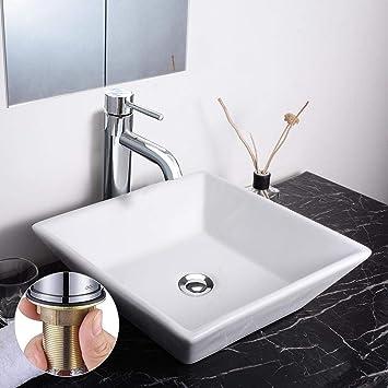 Aquaterior Square Porcelain Ceramic Vessel Sink 12 1 2 Chrome Faucet Popup Drain Set For Bathroom Lavatory