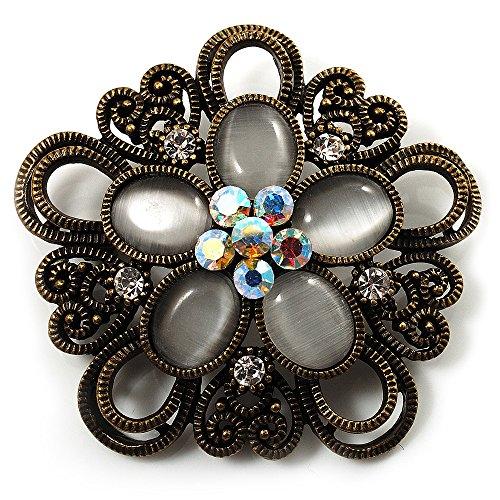 Vintage Filigree Diamante Floral Brooch (Bronze Tone) -