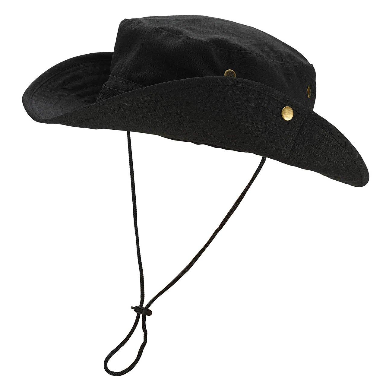 Faleto Bucket Hat Boonie Cowboy Hat Wide Brim Caps Fishing Hat with Adjustable Strap