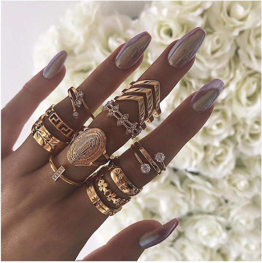 IYOU - Juego de anillos de plata con piedras preciosas para nudillos y nudillos de cristal de plata
