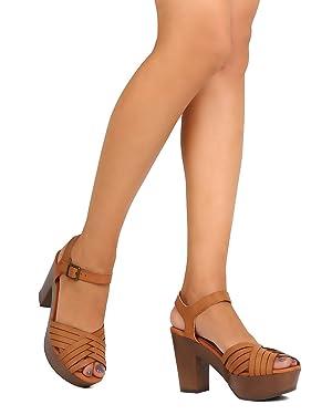 Qupid FE88 Women Leatherette Peep Toe Weaved Platform Chunky Heel Sandal - Cognac (Size: 10)