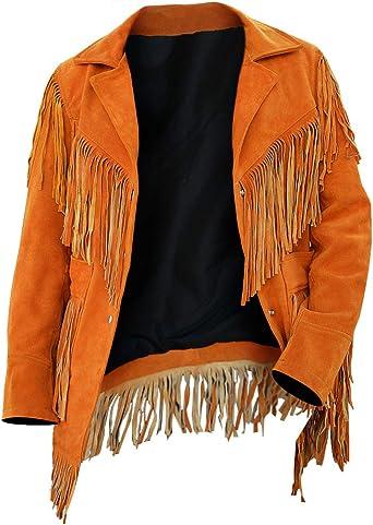 Womens Fashion Jacket Cowgirl Suede Leather American Fringe Stylish Western Coat