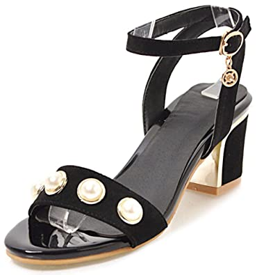 22eed967f IDIFU Women s Fashion Ankle Strap Open Toe Mid Chunky Heel Pearl Party  Sandals (Black