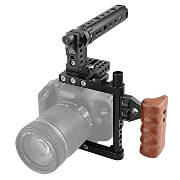 Amazon.com : CAMVATE DSLR Camera Cage Top Handle Wood Grip for ...