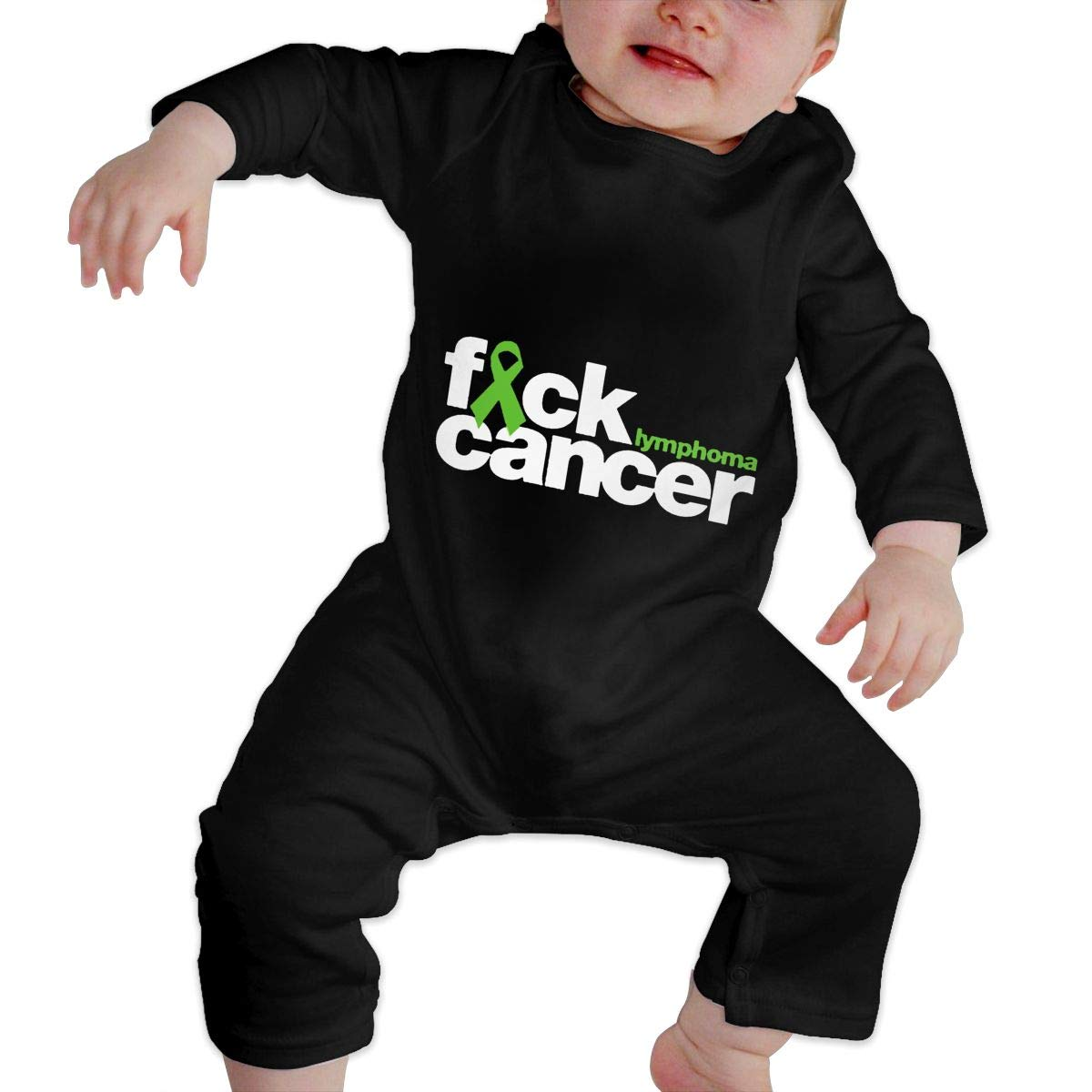 Fuck Lymphoma Cancer Unisex Long Sleeve Baby Gown Baby Bodysuit Unionsuit Footed Pajamas Romper Jumpsuit