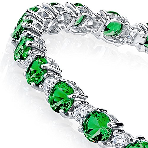 925 Sterling Silver Round Classic Simulated Emeralds & Diamonds Tennis Bracelet