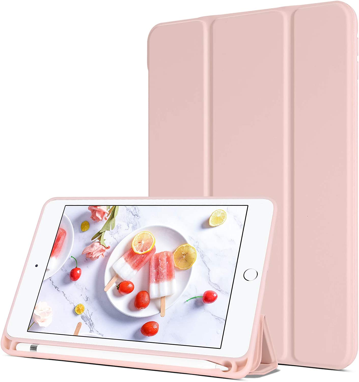 BENTOBEN iPad Mini 5 Case with Pencil Holder, Slim Premium Protective Tablet Case Trifold Folio Stand Soft TPU Back Smart Cover Auto Wake/Sleep for iPad Mini 5th Generation 7.9 inch 2019, Pink