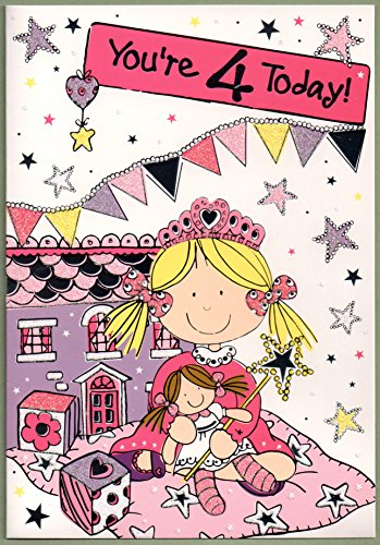 Children's Birthday Card for Four (4) Year Old Girl   Free 1st
