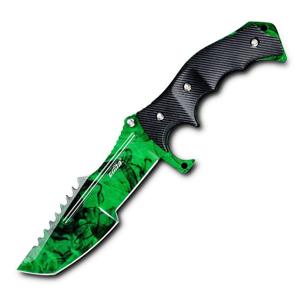CIMA Huntsman CS:GO Knife, Multi-Color Full Tang Fixed Blade Tactical Knife, 10.8 in (Green)