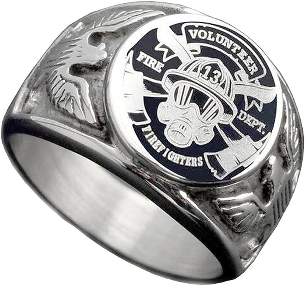 JAJAFOOK Vintage Titanium Steel US Military Firefighters Ring Eagle Medal Rings for Men, Silver/Gold/Black