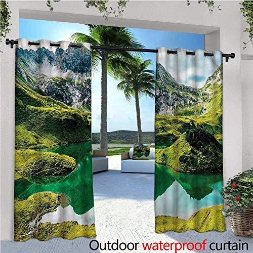 Crystal Canopy Clear - warmfamily Italian Patio Curtains Idyllic Crystal Clear Lake Outdoor Curtain for Patio,Outdoor Patio Curtains W120 x L96