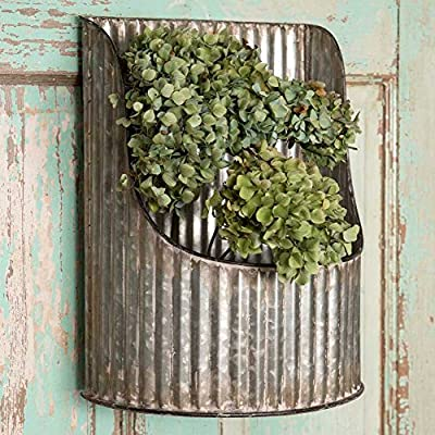Colonial Tin Works Corrugated Metal- Half-Round Decorative Wall Bin Industrial Farmhouse,Grey - Decorative Wall Basket Corrugated Metal From Industrial to Farmhouse Decor - living-room-decor, living-room, home-decor - 61ou4xzHx L. SS400  -