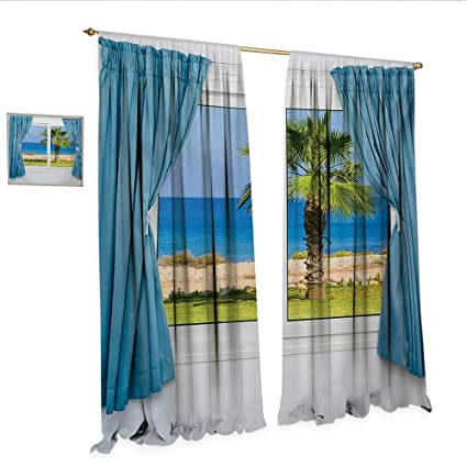 Amazoncom Palm Tree Waterproof Window Curtain Blue Curtains White
