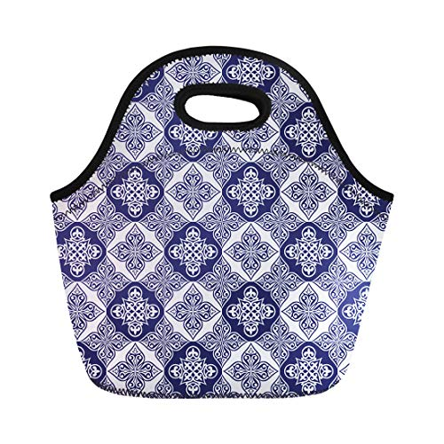 - Semtomn Neoprene Lunch Tote Bag Gorgeous Patchwork Pattern From Blue and White Moroccan Tiles Reusable Cooler Bags Insulated Thermal Picnic Handbag for Travel,School,Outdoors,Work