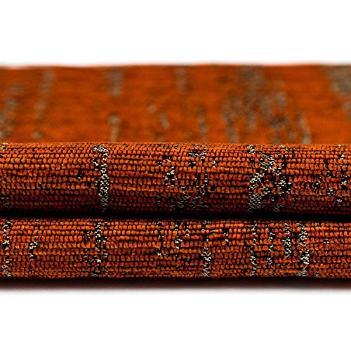Fabric Color Samples - McAlister Textured Chenille 8x4 Fabric Sample Swatch | Terracotta Burnt Orange with Silver Metallic Effect