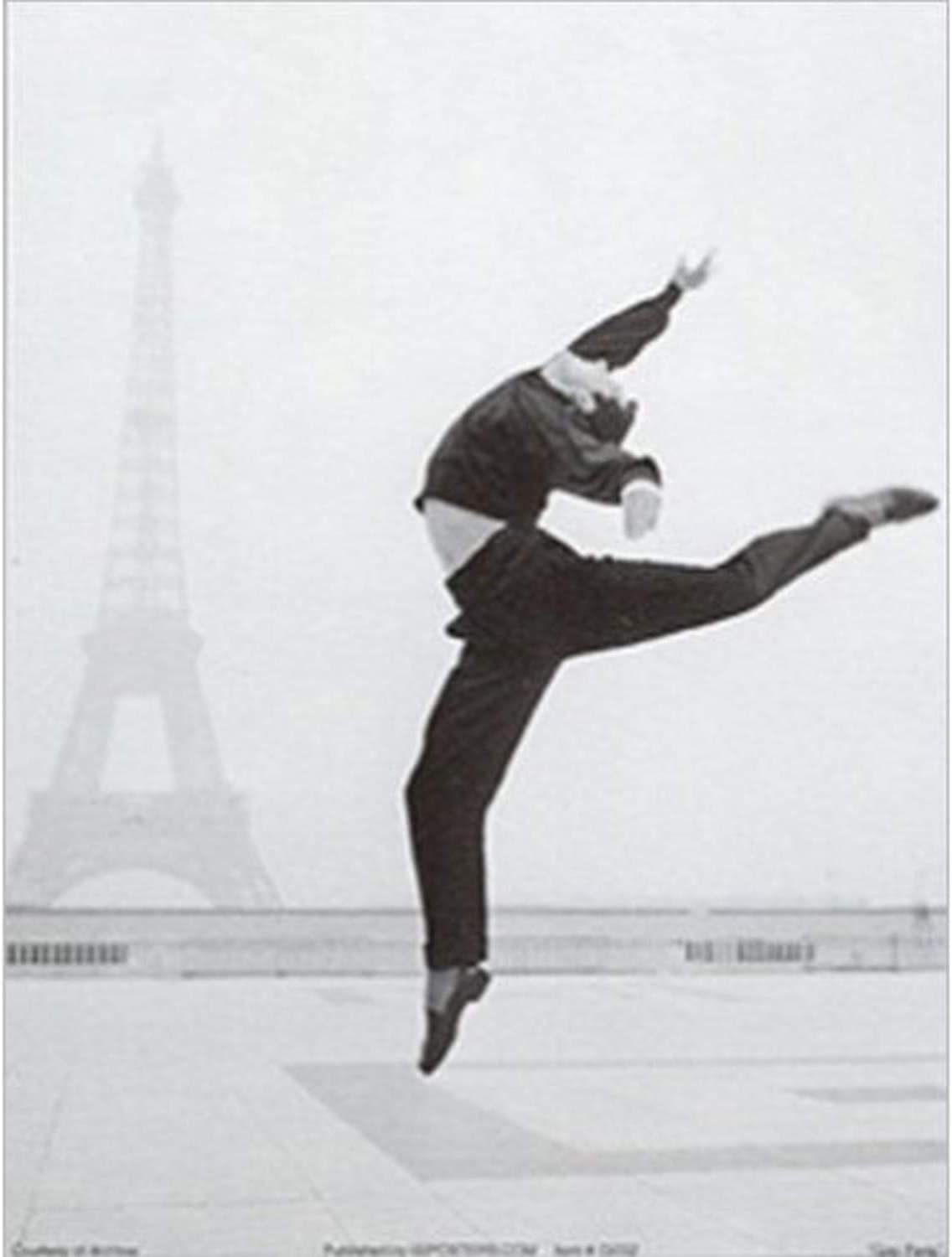 Buyartforless Gay Paris 24x32 Art Print Poster Vintage Black and White Man Dancing with Eiffel Tower in The Distance