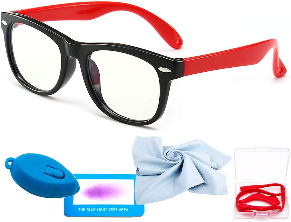 Black + Transparent Blue + Transparent Blue Light Glasses for Kids 3 Pack Anti Glare /& Eye Strain Glasses Computer TV Phone Tablets UV Protection Glasses for Kids Boys Girls Age 3-12