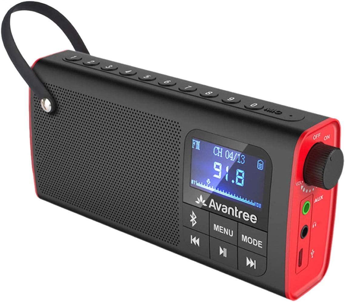 Avantree 3-in-1 Portable FM Radio with Bluetooth Speaker and SD Card Player, Auto Scan Save, LED Display, Rechargeable Battery, Transistor Battery Radio (No Am) - SP850