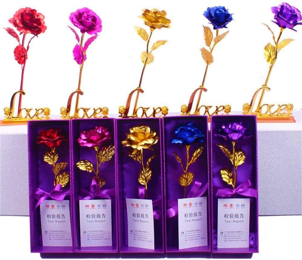 Fansport Regalo de San Valentin Flor de lámina de Oro Rosa de imitación Dorada de Tallo Largo Creativo con Base y Caja de Regalo para el día de San Valentín y Aniversario