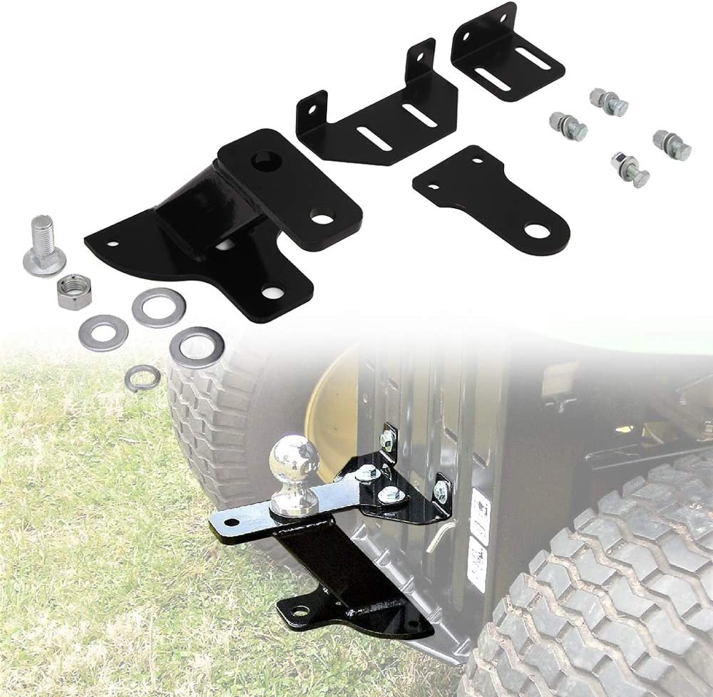 """Hildirix Universal 4"""" Rise 3 Way Lawn Trailer Garden Tractor Hitch with Support Brace Kit"""