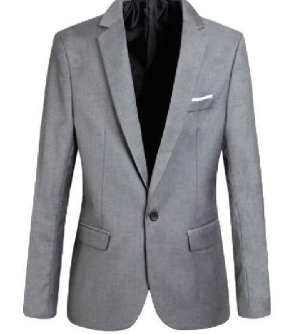 Hoffnung Slim Fit Casual Blazer Jacket for Men (L, Gray)