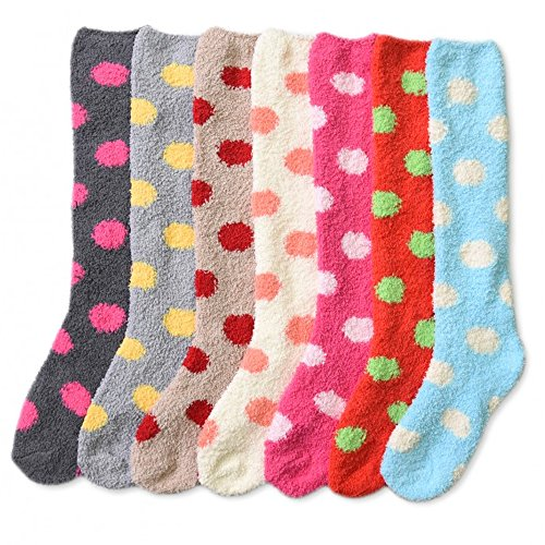 9c1d6b9de9f1ab 3 Pair Plush Soft Women Girl Winter Socks Cozy Fuzzy Slipper Long Knee High  9-