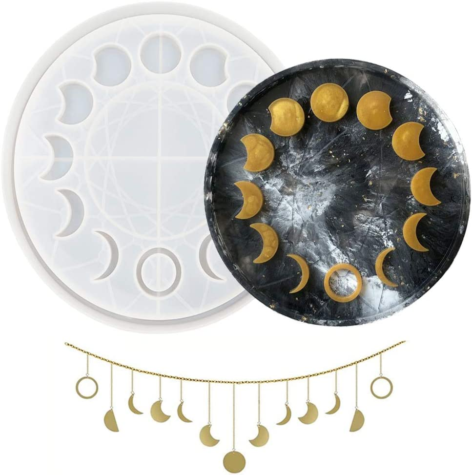 Moon Phase Tray Resin Mold Moon Clock Dial Epoxy Mold Lunar Eclipse Crescent Silicone Mold, for DIY Crafts, Keychain, Neckace, Earrings, Pendant, Home Decor, Wall Hanging