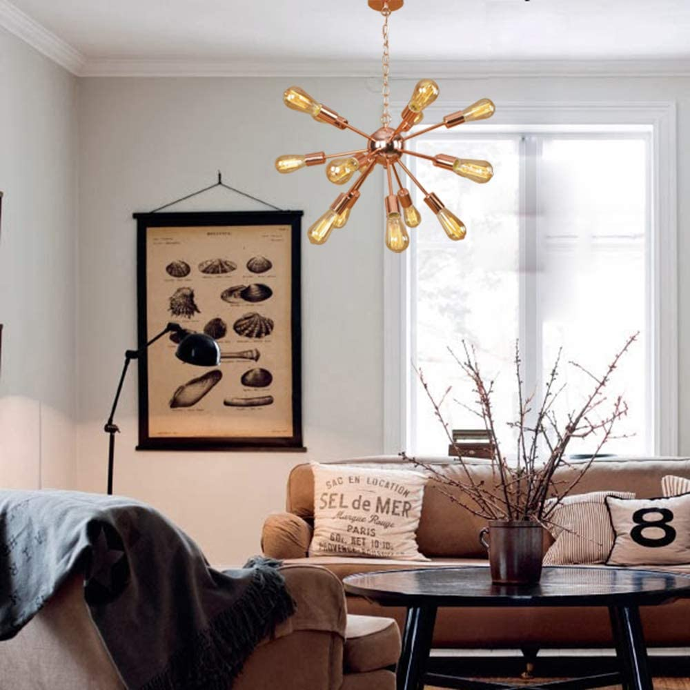 Ruanpu Adjustable Industrial 20 Wide Vintage Gorgrous Splendid Chandelier 15 Lights Open Bulb Style with Radial Fixture Arm in Copper Ceiling Light Pendant Light