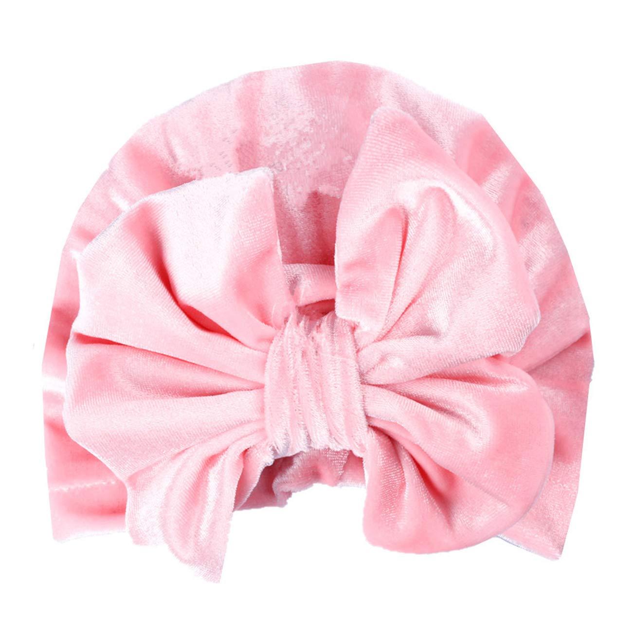 Newborn Baby Velvet Turban Knot Bow Cap Elastic Sretch Head Wrap Beanie Hat