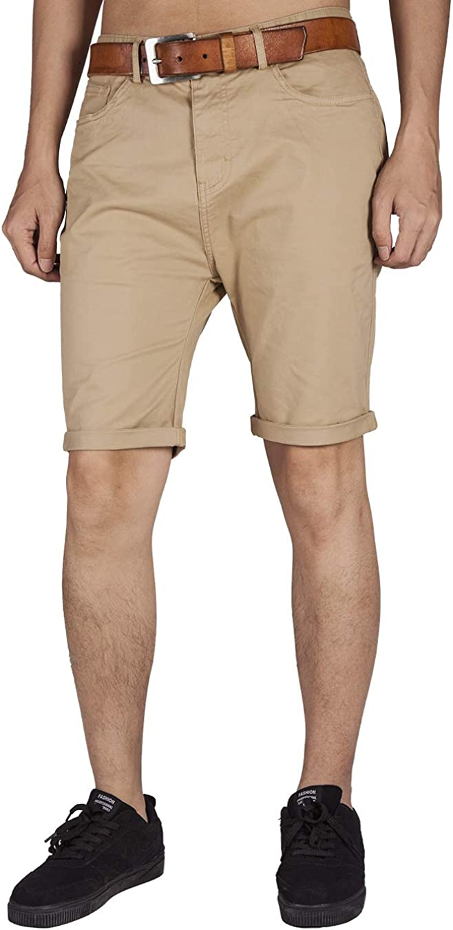 ITALYMORN Men's Stretch Bermuda Chino Shorts 5 Pockets in Twill Cotton