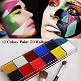 MSmask Face Body Paint Oil 12 Colors Professional Painting Art Make Up Christmas Party Kit Set